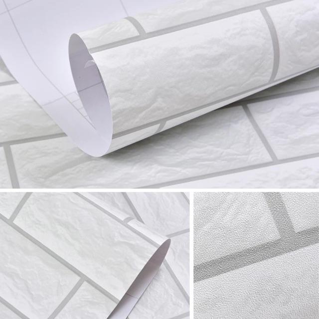 10 m giấy dán tường giả gạch trắng 3D keo sẵn khổ rộng 60 cm - 9947054 , 1164157661 , 322_1164157661 , 190000 , 10-m-giay-dan-tuong-gia-gach-trang-3D-keo-san-kho-rong-60-cm-322_1164157661 , shopee.vn , 10 m giấy dán tường giả gạch trắng 3D keo sẵn khổ rộng 60 cm
