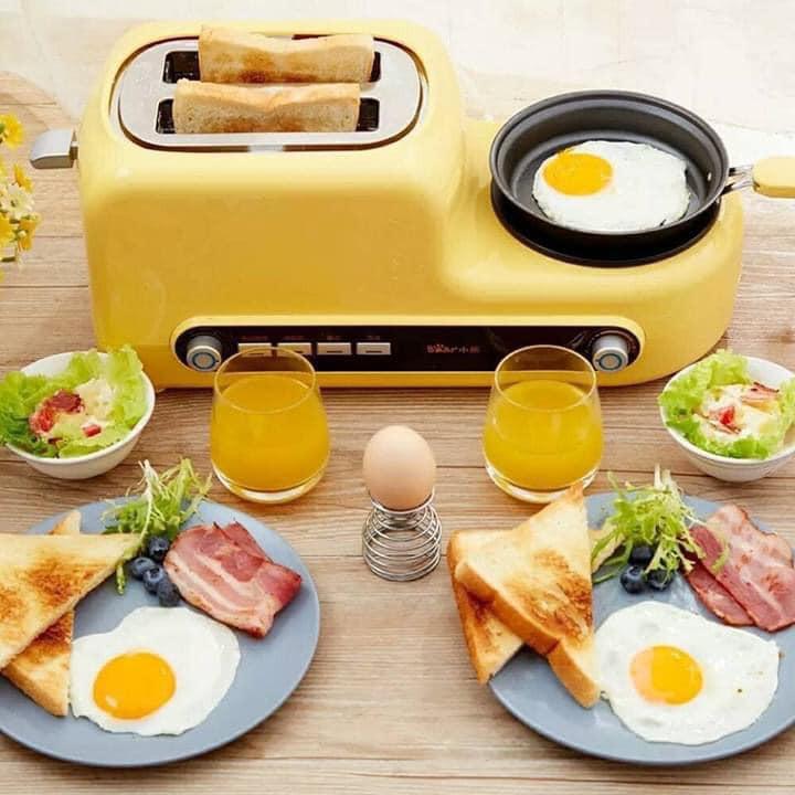 Bếp nướng bánh mì lò nướng bánh mini Bear máy làm sandwich đa năng hấp chiên tiện dụng cho bữa sáng ( có ảnh thật)