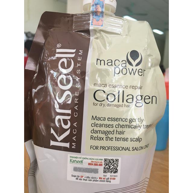 Dầu hấp ủ tóc siêu mượt Karseell Maca Essence Repair Collagen (dạng túi) 500ml có code và tem