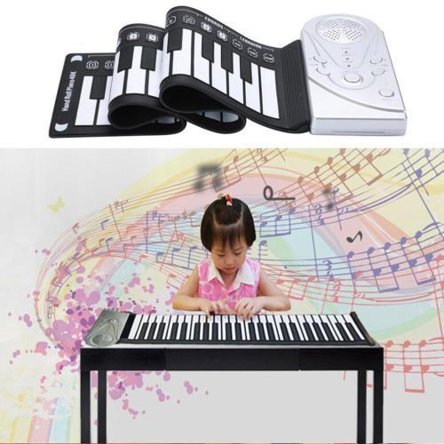 JQAIQ Portable 49-Key Flexible Silicone Roll Up Piano Folding Electronic Keyboard Kid