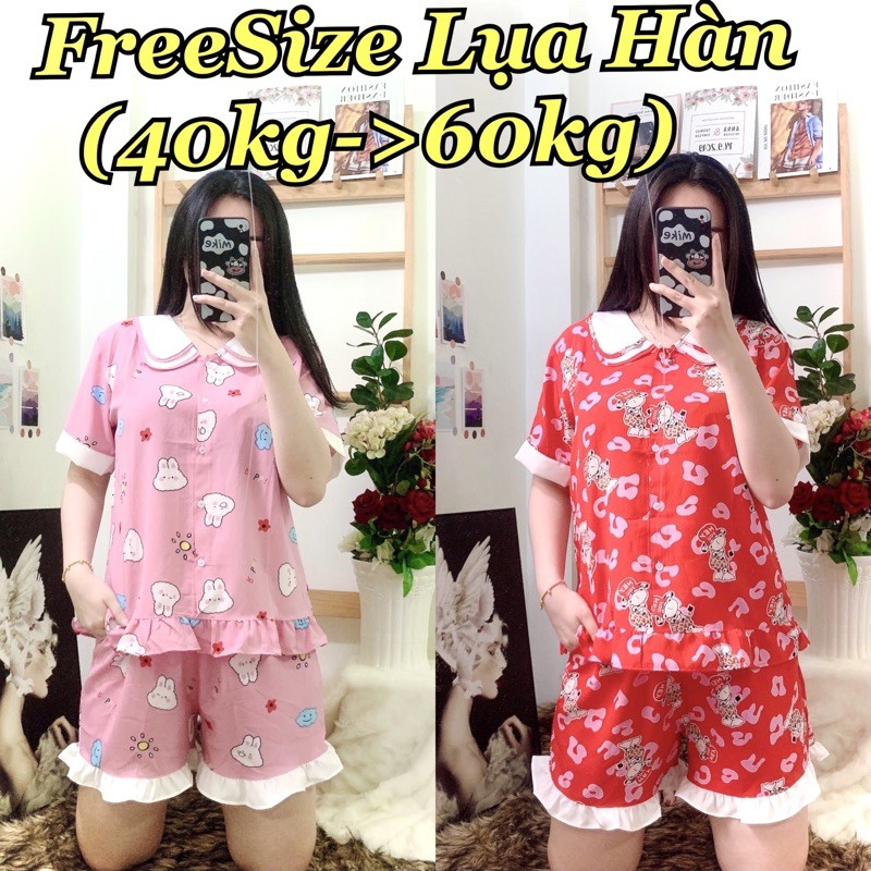 (FreeSize Lụa ) Đồ Bộ Pijama Đùi lụa hàn thiết kế ( 40kg đến 60kg )