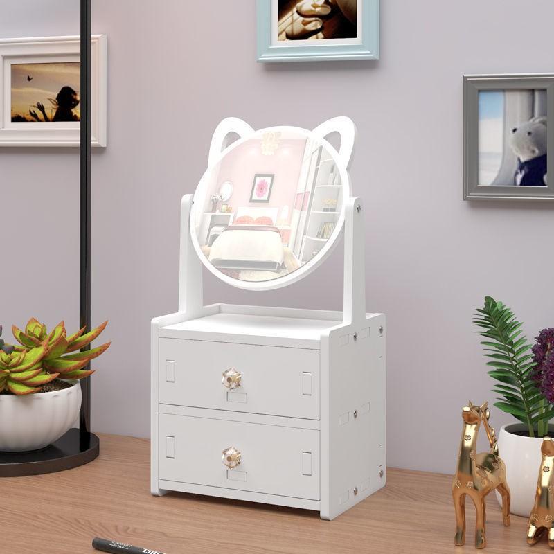 Bàn Trang Điểm Mini Có Gương Mèo Hello Kitty Bằng Gỗ Nhựa Để Phòng Ngủ - Màu Trắng Nhỏ Gọn Đựng Mỹ Phẩm 27 x 17x 13cm
