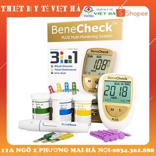 Máy đo đường huyết 3 trong 1 Benecheck Plus Máy đo đường huyết, mỡ máu, axit uric trong máu