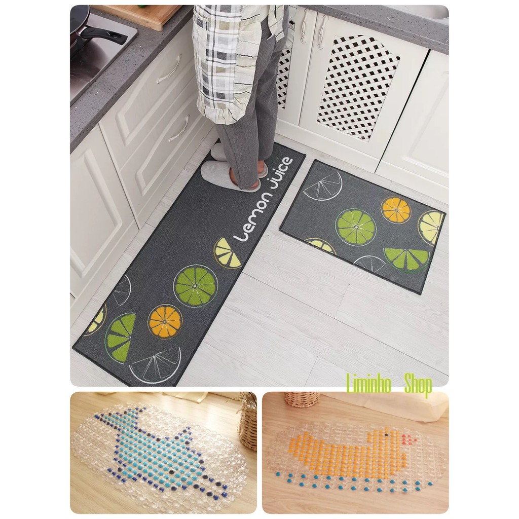 Combo 1 thảm nhựa nhà tắm và 1 bộ thảm sợi tổng hợp cao cấp chống trơn trượt