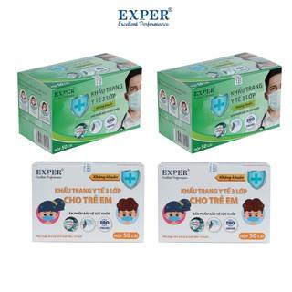 Combo 4 hộp khẩu trang y tế cho gia đình EXPER loại 50 cái. Khẩu trang y tế EXPER cho người lớn và cho em bé thumbnail