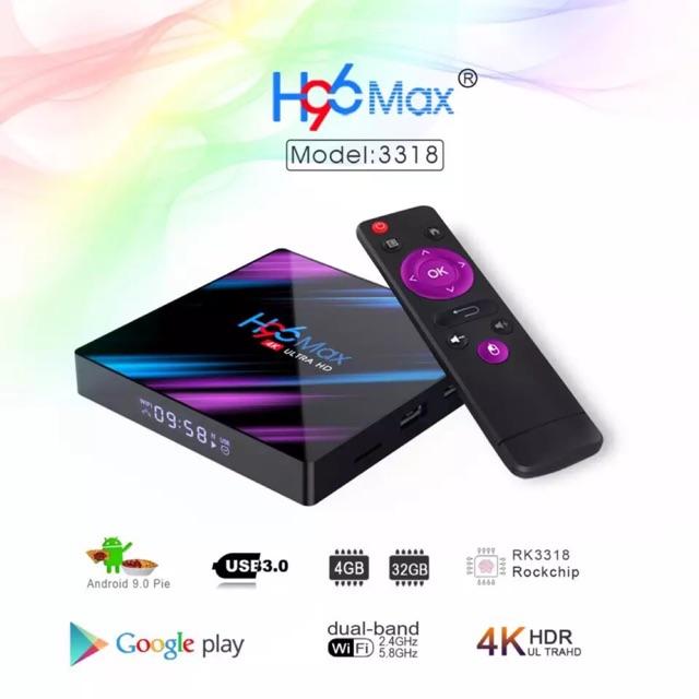 Android tv box h96 max - Android 9.0 RAM 2/4g - ROM 16/32g- 4k - bluetooth - tìm kiếm giọng nói