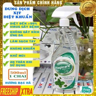 Nước sát khuẩn [HÀNG CHÍNH HÃNG] nước rửa tay kháng khuẩn nhanh khô Hapicare 500ml hương bạc hà thumbnail