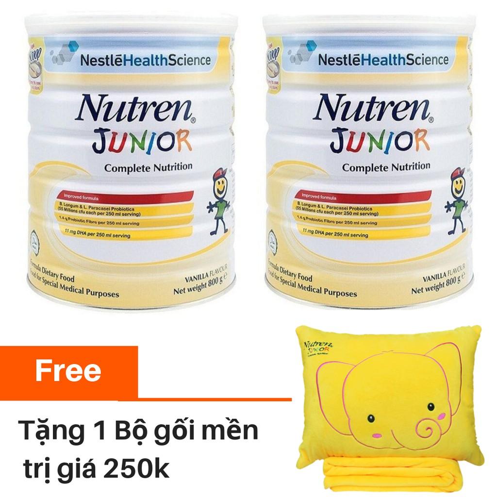 [Tặng 01 Bộ chăn gối] Combo 2 lon Sữa bột Nutren Junior 800g/lon
