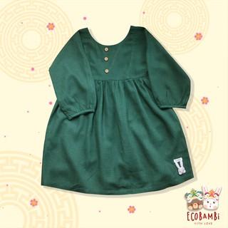 Đầm bé gái ECOBAMBi xẻ lưng chữ V - Xanh lá