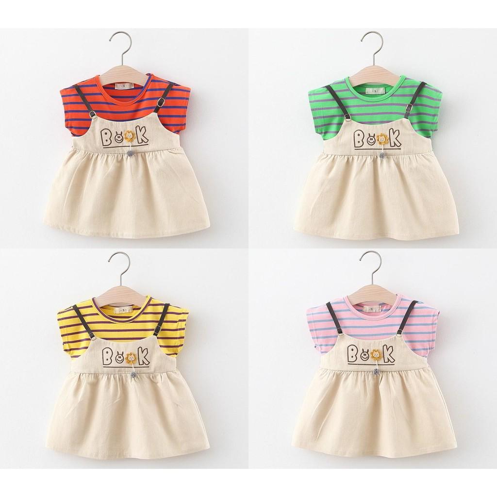 Freeship đơn 50k_Váy thô hai dây kết hợp áo kẻ cotton mềm mát cho bé gái