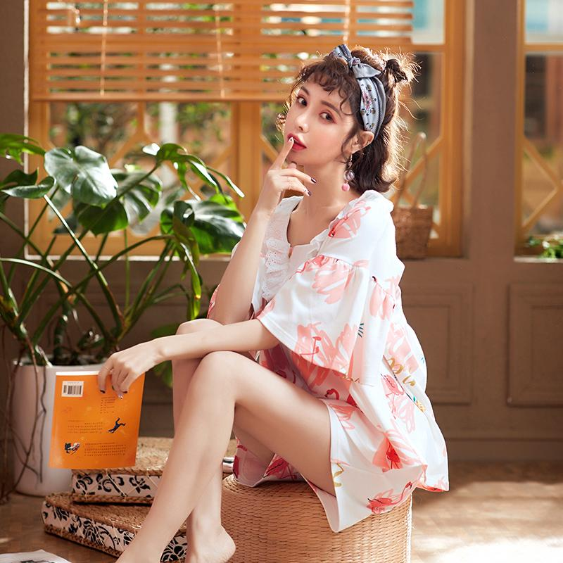 ✈Cotton Summer Pajamas female spring and two sets of ladies short-sleeved shorts cute thin flamingo home wear