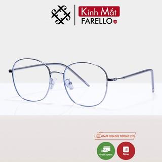 Gọng kính cận nữ FARELLO chất liệu kim loại mắt tròn to thanh mảnh nhẹ nhàng 29185