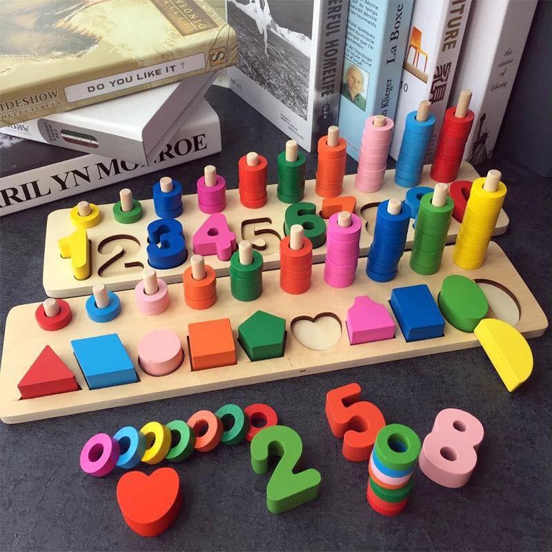 Bảng gỗ ghép hình khối - Số học - Xếp vòng màu sắc. Đồ chơi thông minh cho bé