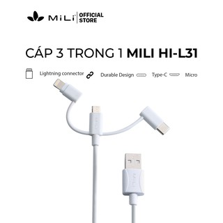 [Mã 2404EL10K giảm 10K đơn 20K] Cáp 3in1 MiLi - HI-L31 màu trắng