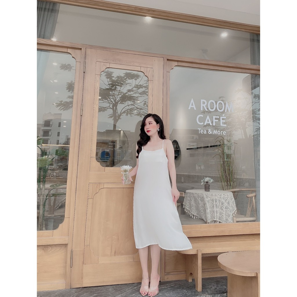 Mặc gì đẹp: Dễ chịu với Đầm Bầu Suông Nữ Chất Đũi Lụa Váy Hai Dây 7 Màu Thoáng Mát