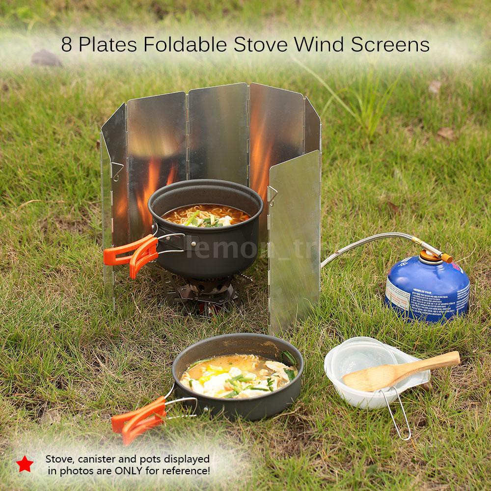 TOMSHOO Ultra-light Outdoor Camping Stoves 8 Plates Foldable Cooker Gas Stove Wind Shield Screens Aluminum Windshield