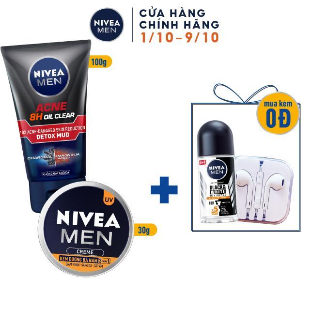 Bộ đôi NIVEA MEN chăm sóc da cho nam, giúp sáng da kiểm soát nhờn mụn (83940 + 83923)