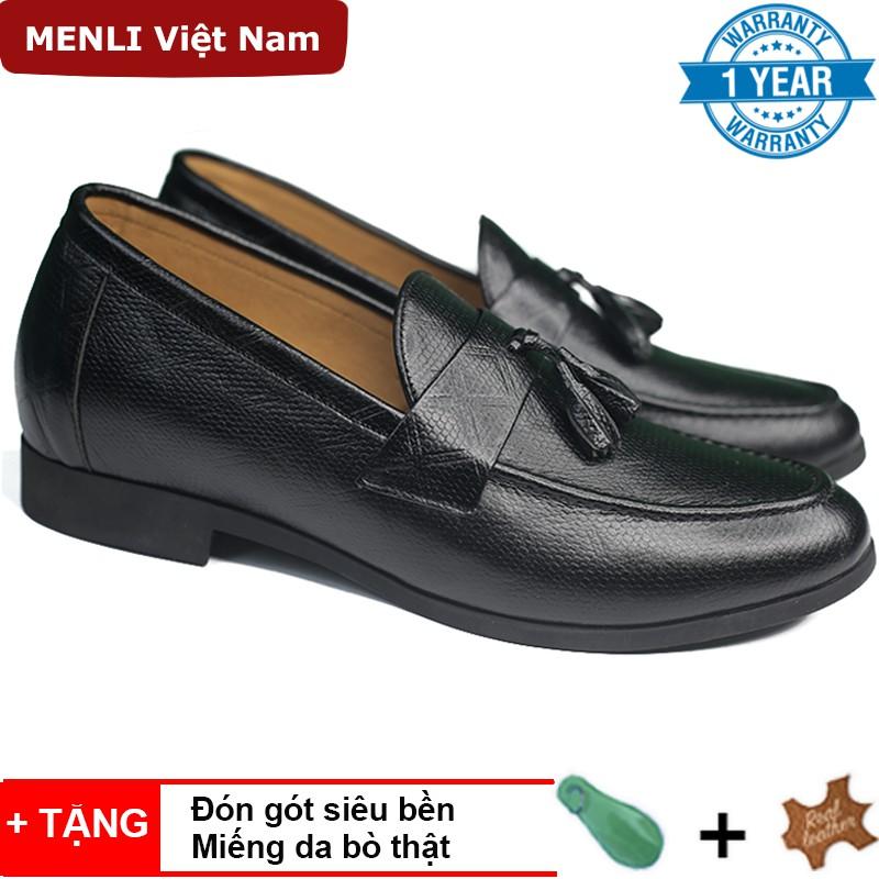 Giày lười tăng chiều cao nam MENLI TCSM24 dập vân sành điệu