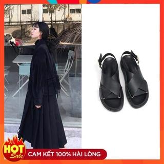 Giày Sandal Đế Bằng 3 Phân Da Lì Quai Đôi Phối Khóa 61131_151122