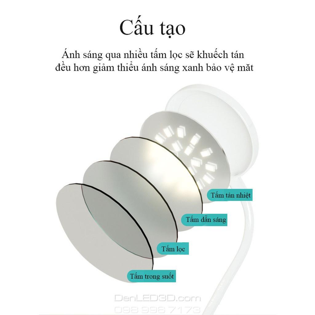 Đèn Bàn LED Kẹp Đầu Giường Đọc Sách Chống Cận Pin 2000mAh (Nhiều màu)
