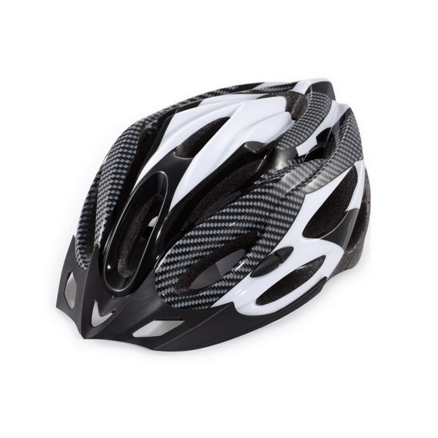 Nón bảo hiểm xe đạp vân cacbon cao cấp Trắng đen 2017