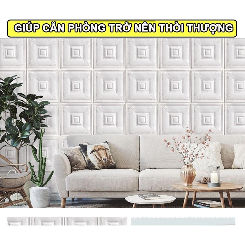 [HÀNG LOẠI 1] Xốp dán tường giả da - giấy dán tường giả da vân 3D Vân Cổ Điển $ Ô Vuông Khổ 70 x70cm DT01