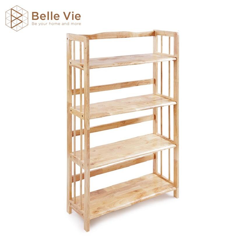 Kệ Sách 4 Tầng BELLEVIE Kệ Gỗ Decor Lắp Ráp Đơn Giản Tiện Dụng Bookshelf 4F Natural x 80Cm