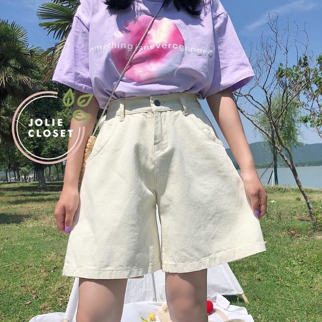 Quần Short Kaki Lửng Ulzzang Quần đùi denim ngố Ống rộng cạp cao trắng đen kem Dáng Hàn Quốc (có bigsize) | WebRaoVat