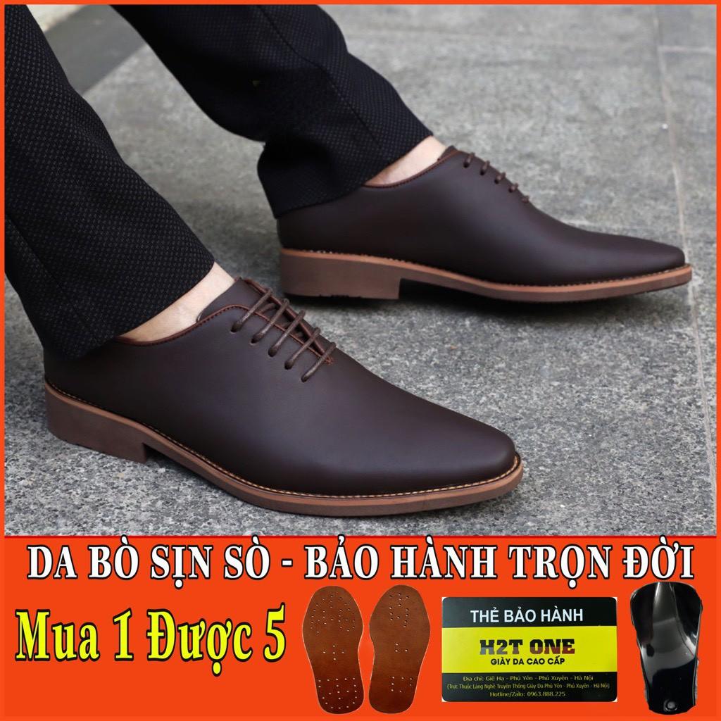 Giày tây nam công sở da bò cao cấp - đế cao su diễu - phong cách trẻ trung lịch lãm HT036