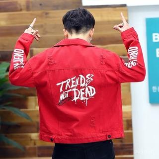 Men's Denim Jacket Slim-Fit Top Denim Jacket Male Coat Student Red Denim Jacket AdolescentbfHandsome Denim Wear 8YuM