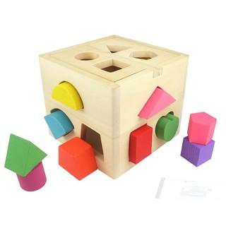 Hộp thả hình khối 13 lỗ hình vuông bằng gỗ