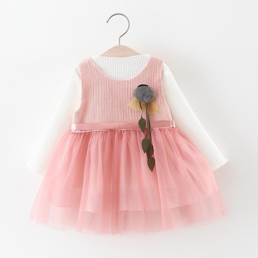 Váy Bé Gái [ FREESHIP ] Váy Công Chúa Phối Len Mặc Được 2 Kiểu Cho Bé 7-15kg
