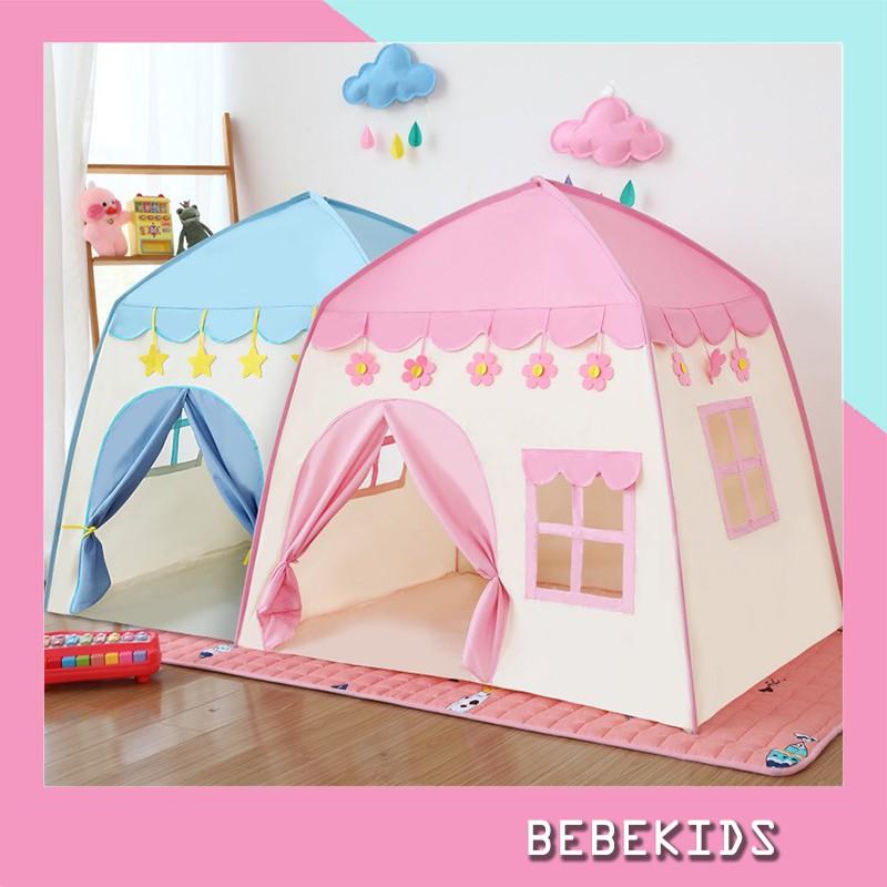 Lều công chúa, hoàn tử, lều cho bé trai bé gái hình ngôi nhà, có 2 màu xanh hồng mẫu mới 2021