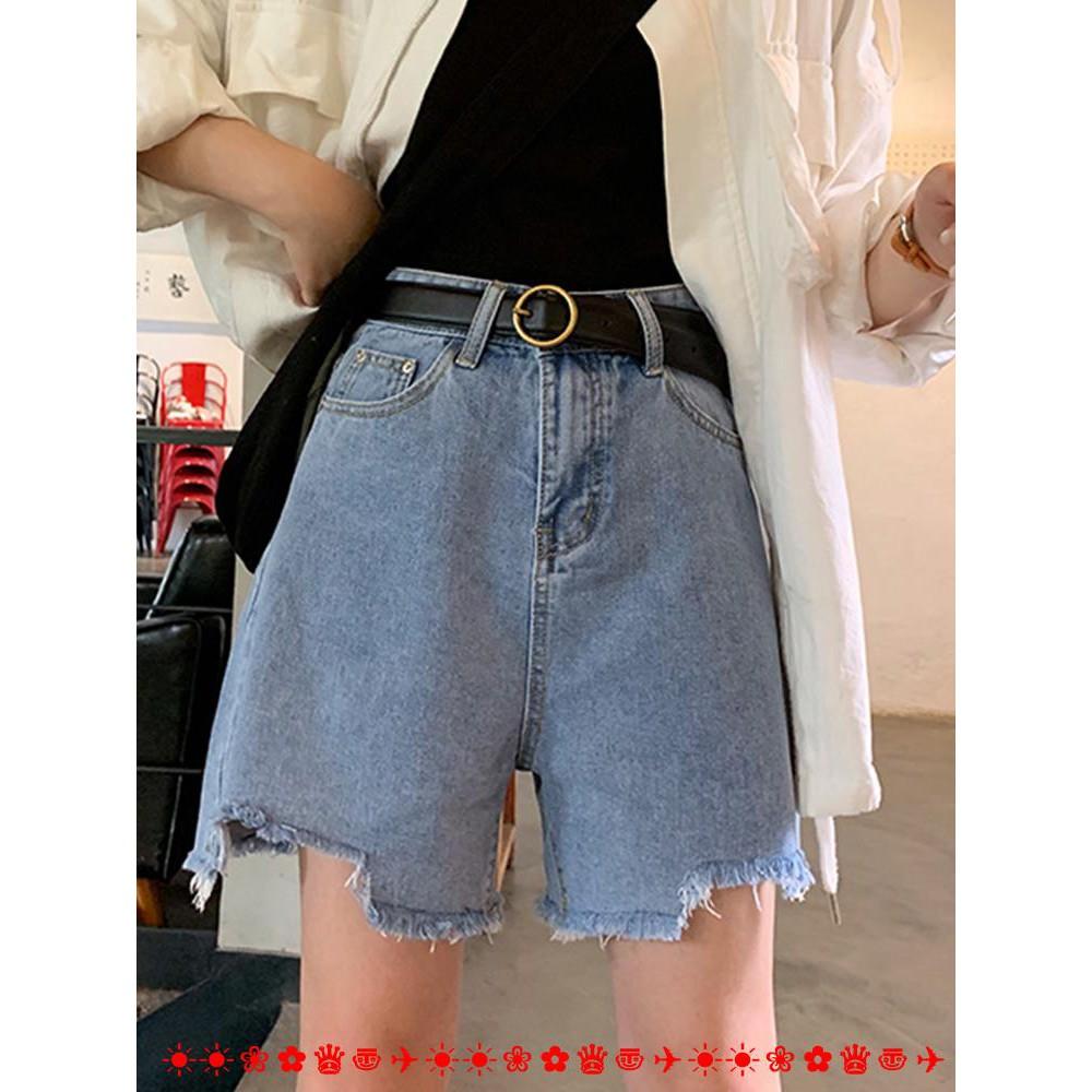 Summer Korean wide-leg pants high waist raw jeans women 2019 new shorts loose hot pants straight casual pants