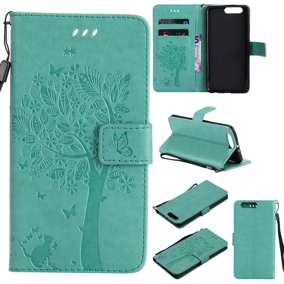 For Huawei P10 Plus Green Cat Tree Leather Flip Wallet Stand Case Cover