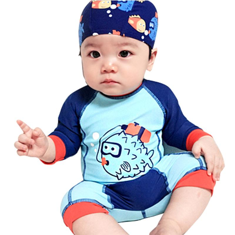 Bộ đồ bơi kèm mũ trùm xinh xắn dành cho bé trai 1-9 tuổi
