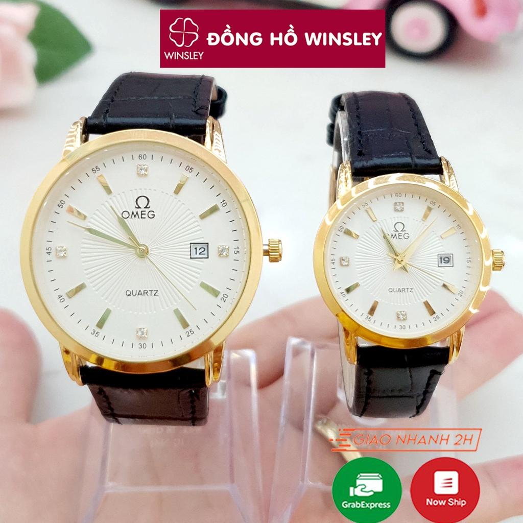 Đồng hồ đôi nam nữ đeo tay OMG dây da viền mạ vàng đẹp giá rẻ thời trang chính hãng Winsley