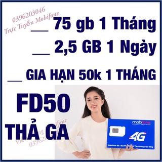SIM THAGA GÓI FD50 Mobifone 1 Tháng Gia Hạn 50k