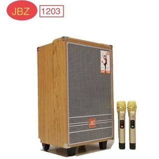 Loa karaoke di động JBZ 1203 hát karaoke cực hay, kèm 2 micro nhôm UHF không dây