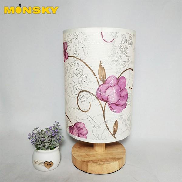 Đèn ngủ để bàn MONSKY đế gỗ, chao vải thêu hoa hồng cao cấp - Tặng kèm bóng LED chuyên dụng