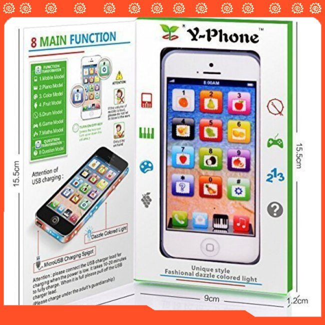 YPhone Kids Learning Toy Play Cell Phone Black with USB Recharable Random Color