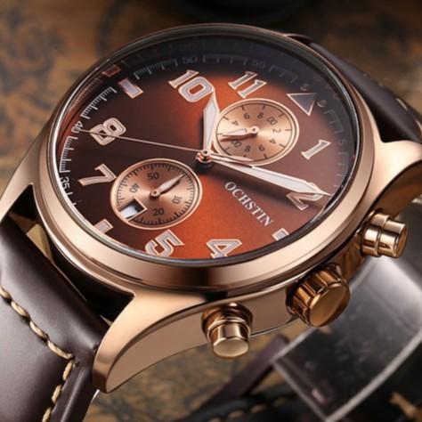 Đồng hồ nam OCHSTIN chính hãng Fullbox, dây da nâu Classic, chống nước chống xước BH 12 tháng - OCHN7 MD