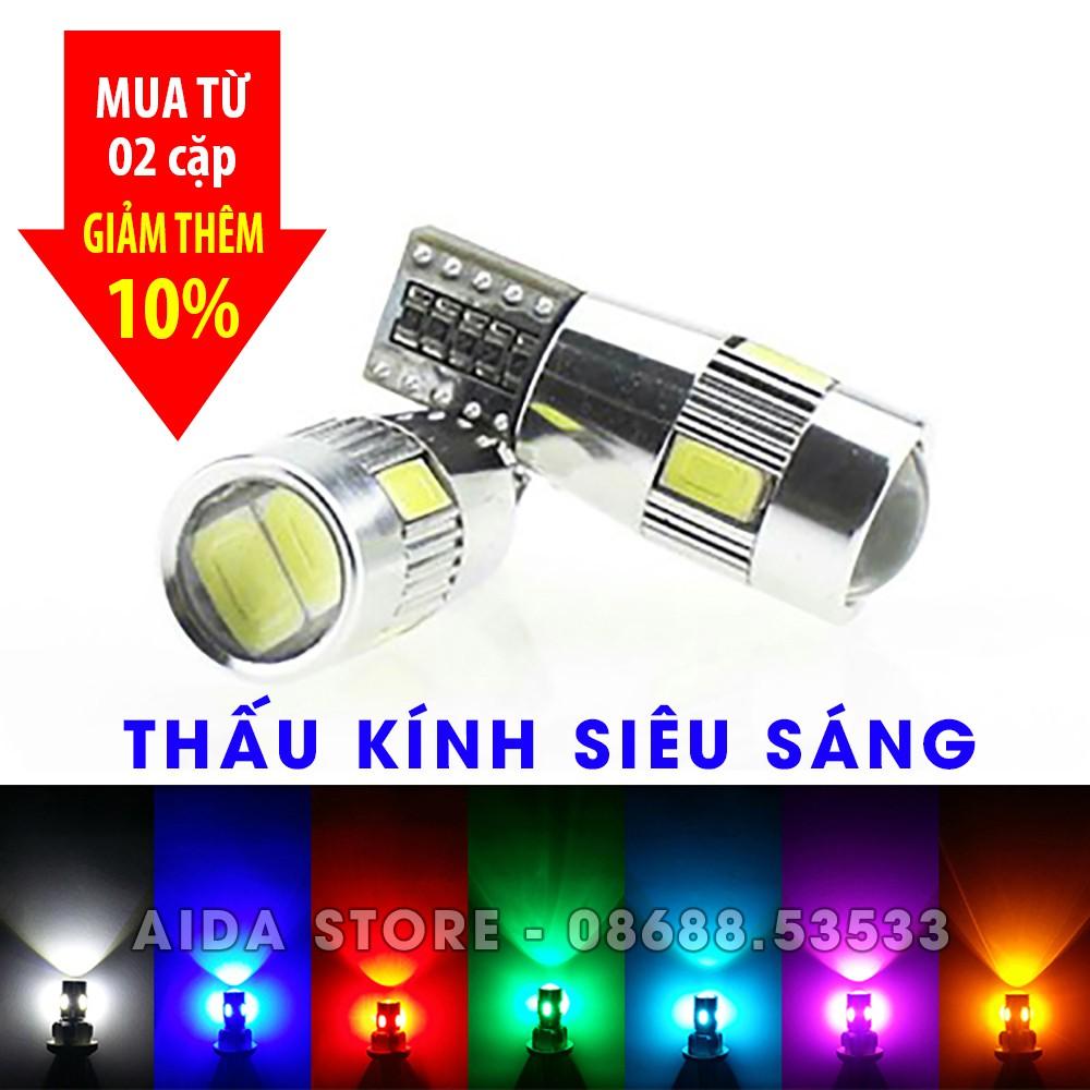 Cặp (02 bóng) đèn led demi, xi nhan thấu kính siêu sáng T10 6SMD 5630