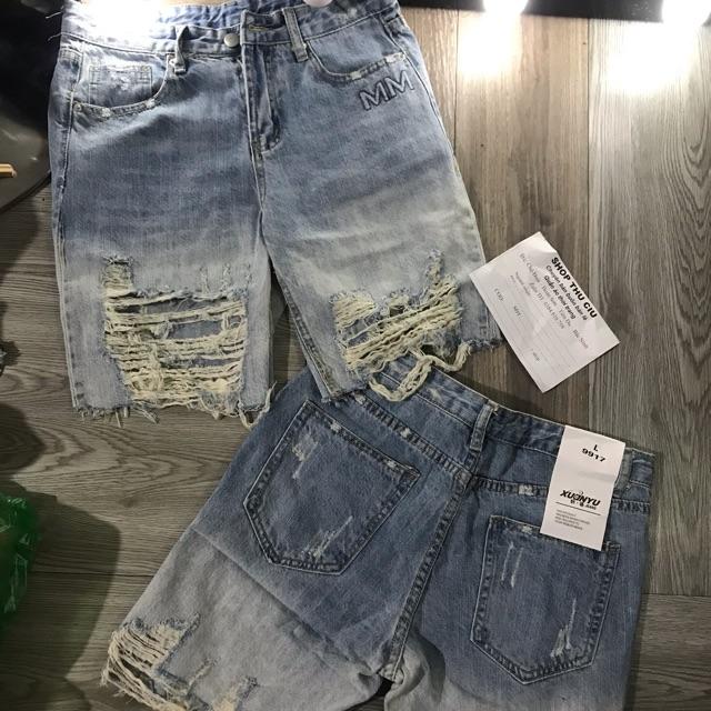 Quần jeans  ngố rách