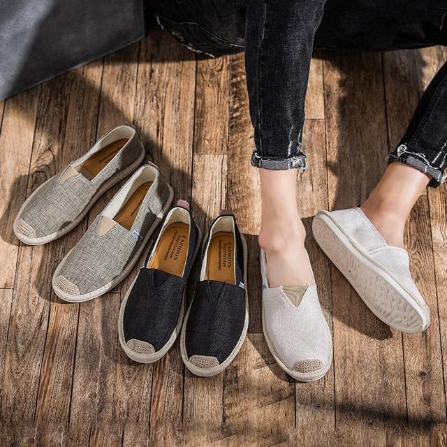 Slip on nam - Giày lười vải nam cao cấp - Vải bố 3 màu đen, xám và trắng ngà - Mã SP 2905