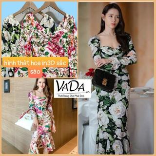 Đầm Body Tay Dài in Hoa 3D đuôi cá chất lụa mát, đi dự tiệc, đi biển, dạo phố cực sang - Thời trang VADA (BD185) thumbnail