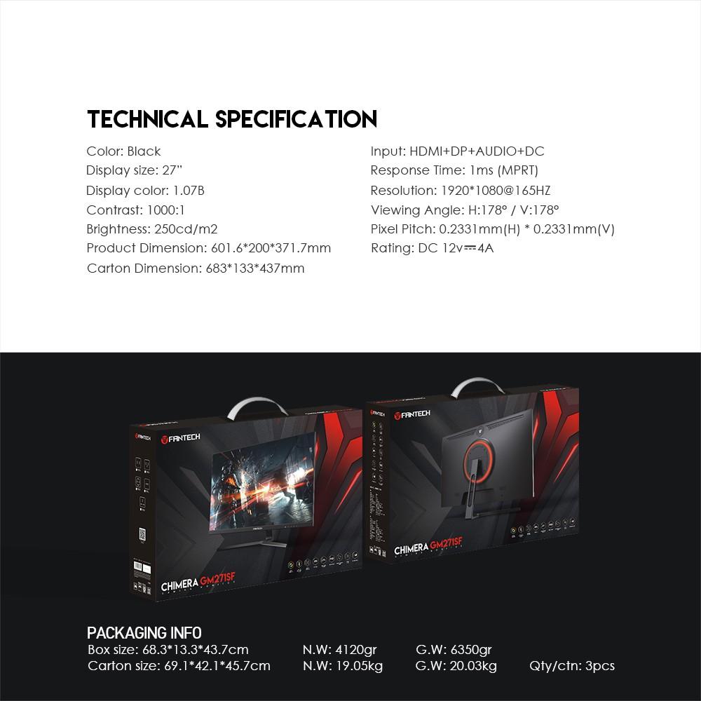 Màn Hình Gaming Fantech GM271SF CHIMERA Tấm Nền IPS Màu Sắc sRGB Tần Số Quét 165Hz - Hãng Phân Phối Chính Thức