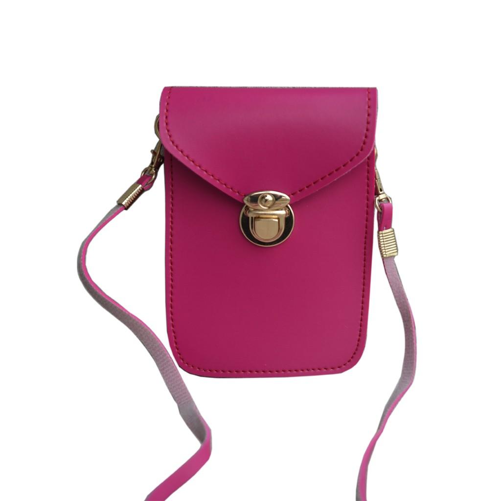 Túi đựng điện thoại thời trang HI&T 48 (Đứng hồng đậm,hồng phấn,đen,nâu,vàng bò,mận)