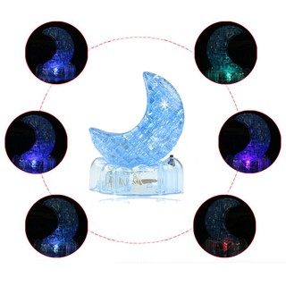 3D Crystal Puzzle Cute Model Shine Moon DIY Gadget Blocks Building Toy