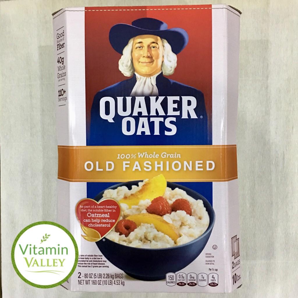 (Hàng USA) Yến Mạch Quaker Oats Cán Mỏng/Cán Vỡ 4.5kg